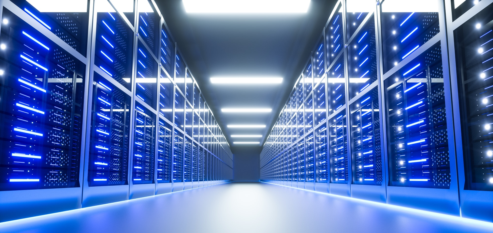 Server room interior in datacenter. 3D Render